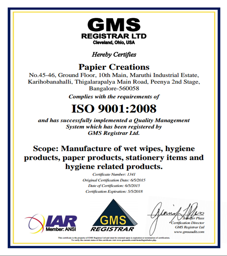 Papier Creations is ISO 9001 2008 Certified